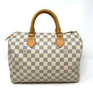 Auth Louis Vuitton Speedy 30 Damier Azur Tote Bag